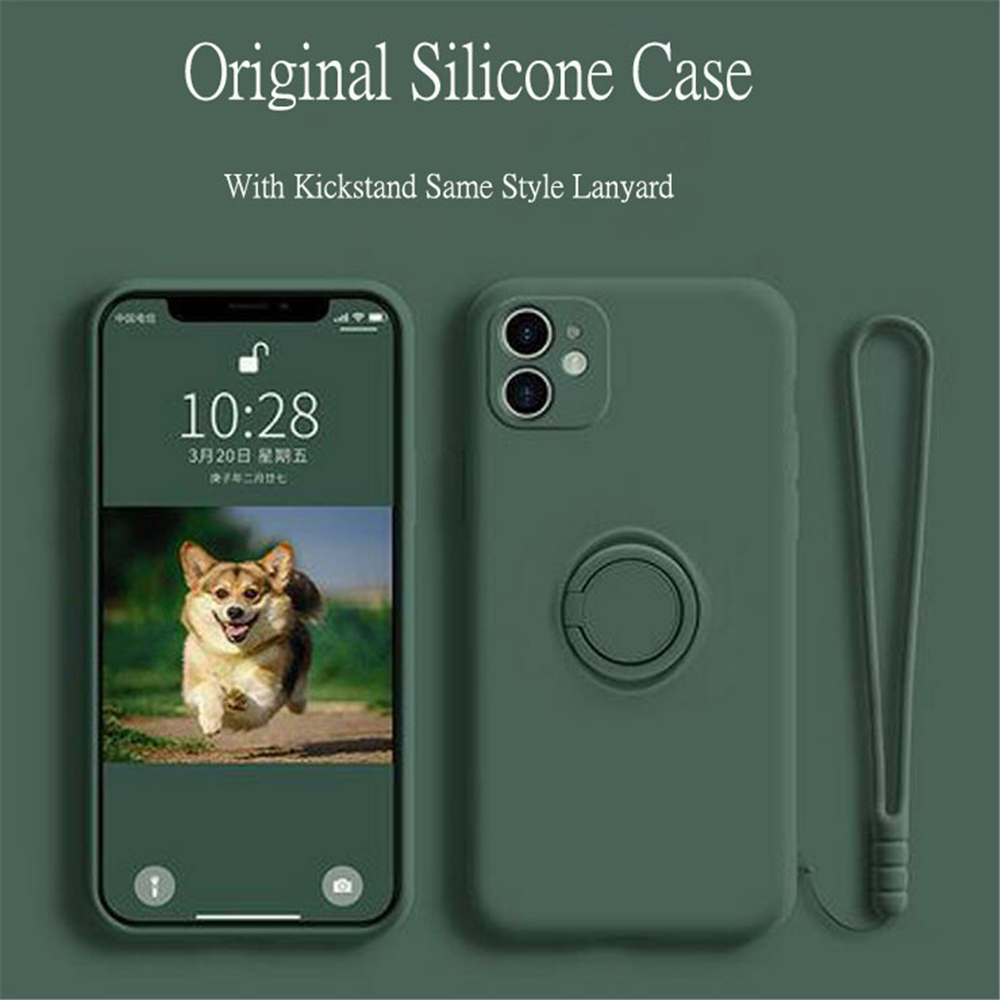 <font><b>Original</b></font> Liquid <font><b>Silicone</b></font> Kickstand <font><b>Case</b></font> For <font><b>iPhone</b></font> SE2020 11 XS Pro Max <font><b>X</b></font> XR 7 8 6 6sPlus With Finger Ring Fitted Soft Cover image