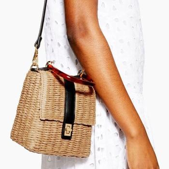 Vintage Box Women Shoulder Crossbody Bags Casual Amber Acrylic Handle Handbag Wicker Summer Beach Mini Rattan Woven Straw - sale item Women's Handbags