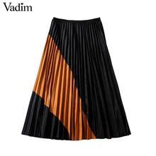 Vadim Женская плиссированная юбка в стиле ретро из замши с узором в стиле пэчворк, на молнии сбоку, винтажные женские стильные юбки до середины икры BA744