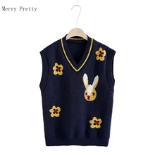 Cartoon Rabbit Jacquard Sweater Vest Women Casual Knitted Pullover 2021 Spring V Neck Sleeveless Sweet Style Ladies Cute Top