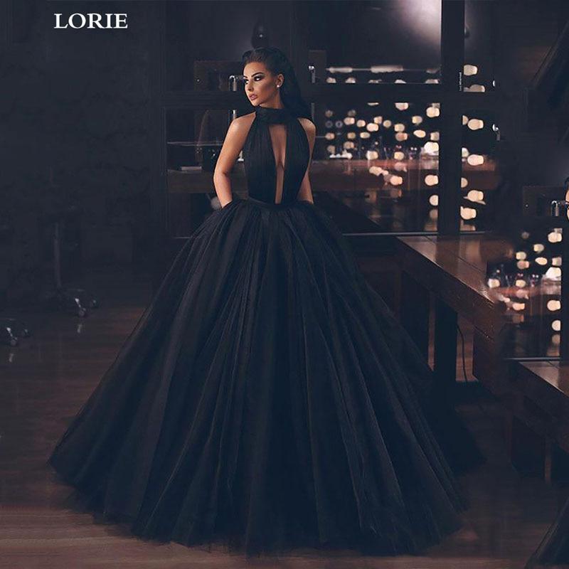 LORIE A Line Princess Wedding Dress Sexy Black Side Split Bridal Dresses High Neck Backless Boho Vestidos De Novia Wedding Gowns