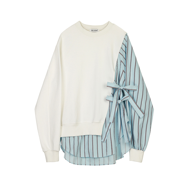 [EAM] Loose Fit Striped Spliced Hit Color Sweatshirt New Round Neck Long Sleeve Women Big Size Fashion Spring Autumn 2020 1B763 7