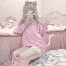 Primavera e verão nova impressão rosa dos desenhos animados oversized hoodie japonês ins colégio estilo bonito e doce solto casaco estudante com capuz