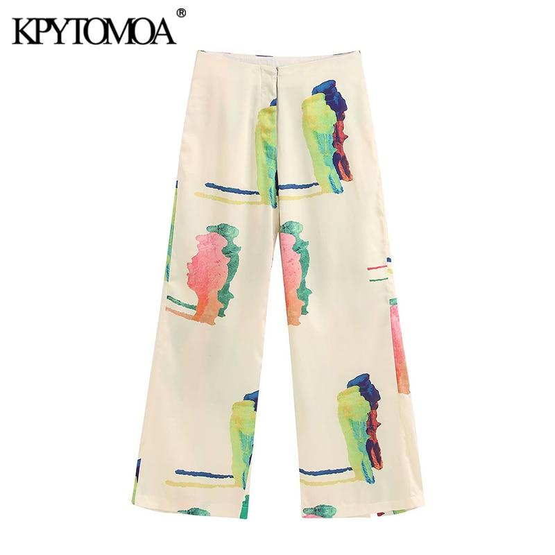 KPYTOMOA Women 2020 Chic Fashion Print   Wide     Leg     Pants   Vintage Zipper Fly Side Pockets Female Trousers Casual Pantalones Mujer