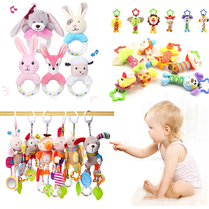 Newborn Baby Plush Stroller Toys Baby Rattles Mobiles Cartoon Animal Hanging Bell Educational Baby Toys 0-12 Months Speelgoed