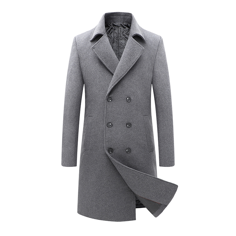 Autumn And Winter New Plus Cotton Thick Double-breasted Mid-length Woolen Coat Business Casual Korean Slim Jacket Men