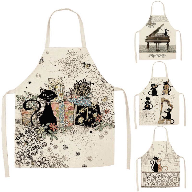 1 Pcs Cute Cat Pattern Kitchen Apron for Women Cotton Linen Bibs Household Cleaning Pinafore Home Cooking Aprons 1