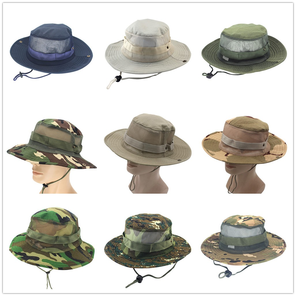 Adjustable Military Tactical Camouflage Hats Chin Cord Outdoor Fishing Anti-UV
