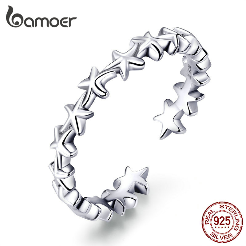 Bamoer Real  925 Sterling Silver Design Starfish Stackable Finger Rings For Women Adjustable Open Rings Free Size Jewelry SCR607