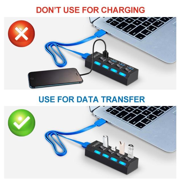 USB 3.0 HUB 2.0 HUB Multi USB Splitter 4/7 Port Expander Multiple USB 3 Hab Use Power Adapter USB3.0 Hub with Switch For PC 4