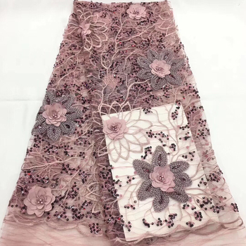 Pink Color High Quality African Tulle Lace Fabric 2019 French Net Beaded And Stones 3d Lace Fabric for Wedding Dress CD27681