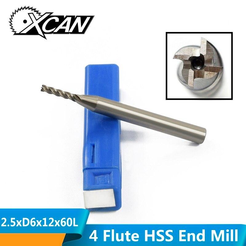 XCAN 1 Piece Diameter 2.5mm HSS Straight Shank Milling Bit 4 Flute CNC Milling Cutter HSS End Mill