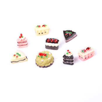 8Pcs Mini Cute DIY Miniature Artificial Fake Food Cake Resin Decorative Craft Play Doll House Toy Children Gift