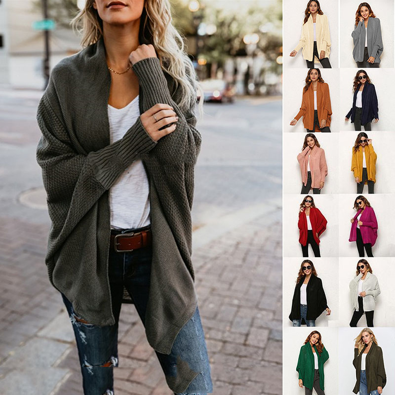 2019 Autumn Women Cardigan Bat Sleeve Oversized Knitted Sweater Women Coat Casual Spring Ladies Cardigan Mujer Clothes CDR895