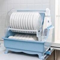 Grande capacidade de duas camadas prato rack de plástico tigela escorredor prato placa de secagem rack organizador dreno plástico armazenamento titular