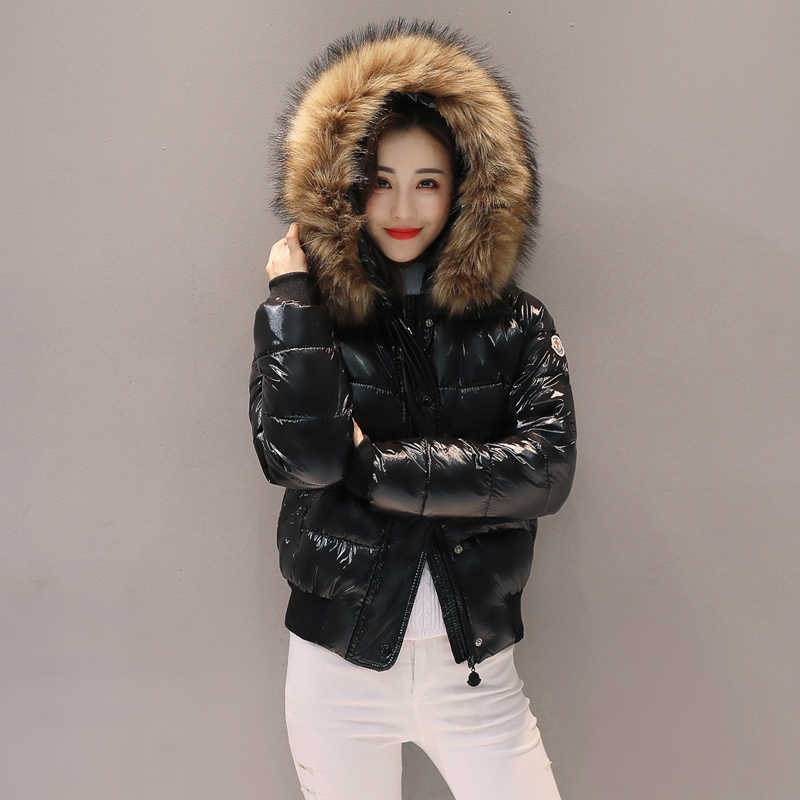Fake fur Parkas Women Down Jacket 2019 Winter Jacket Women Short Coat Winter Snow Wear Glossy Female Jacket waterproof Parkas