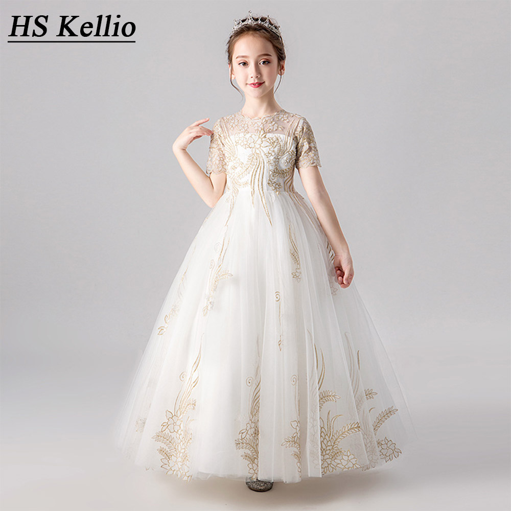 HS Kellio   Flower     Girl     Dress   Ivory Short Sleeve Princess Little   Girls  ' Party   Dresses   Lace Appliques