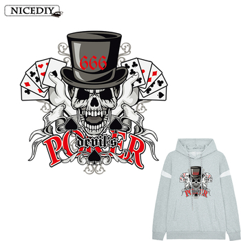 Punk Hippie Poker skull Heat Transfer Stickers For Clothes Washable Iron On Applique For T-shirt Rock Dresses Clothes Decor DIY