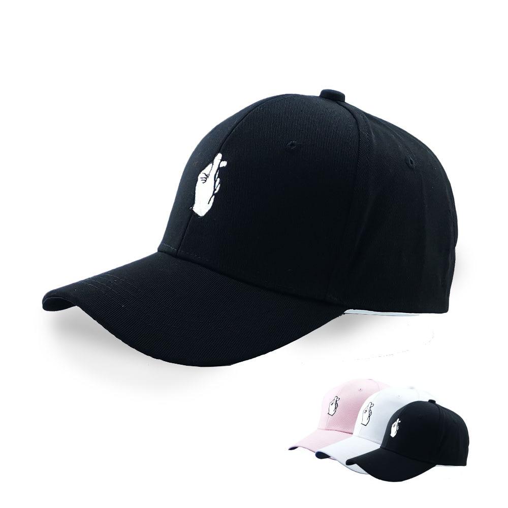 Newly Fashion Summer Korean Baseball Cap Cotton Adjustable Sun Hat Men And Women Hip Hop Caps Finger Gesture Snapback Hats