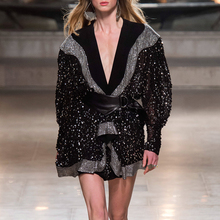 2019 Autumn Black Elegant Women Dress V-neck Embroidered Diamonds Long Sleeve Empire Mini Dress Fashion Design Female Dress black crossed front design v neck mini dress