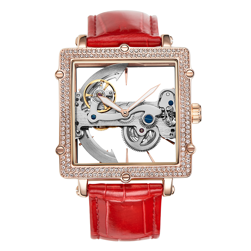 2020 New Square Automatic Mechanical Watch Women Hollow Watches Female Leather Bracelet Watch Rose Gold Diamond Clock Waterproof