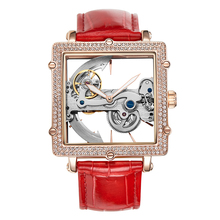 2020 New Square Automatic Mechanical Watch Women Hollow