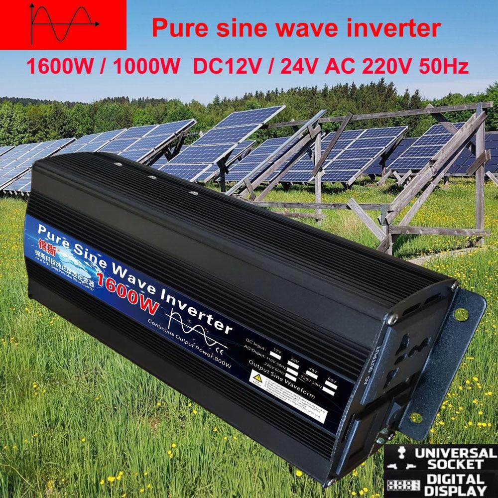 Чистый синусоидальный инвертор постоянного тока 12 В 24 В в переменный ток 220 В 110 В 60 Гц 500 Вт 1000 Вт 2000 Вт усилитель конвертера мощности для авто...