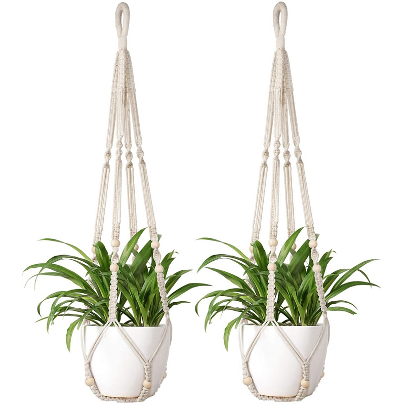 Macrame Plant Hangers 2Pcs Indoor Hanging Planter Basket Flowe Pot Holder Cotton Rope With Beads No Tassels, 35 Inch