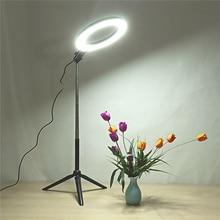 Светодиодный кольцевой светильник для селфи с регулируемой яркостью для фотосъемки 3500-5500 k, лампа для фотостудии с держателем для телефона, usb-разъем, штатив, заполняющий светильник s