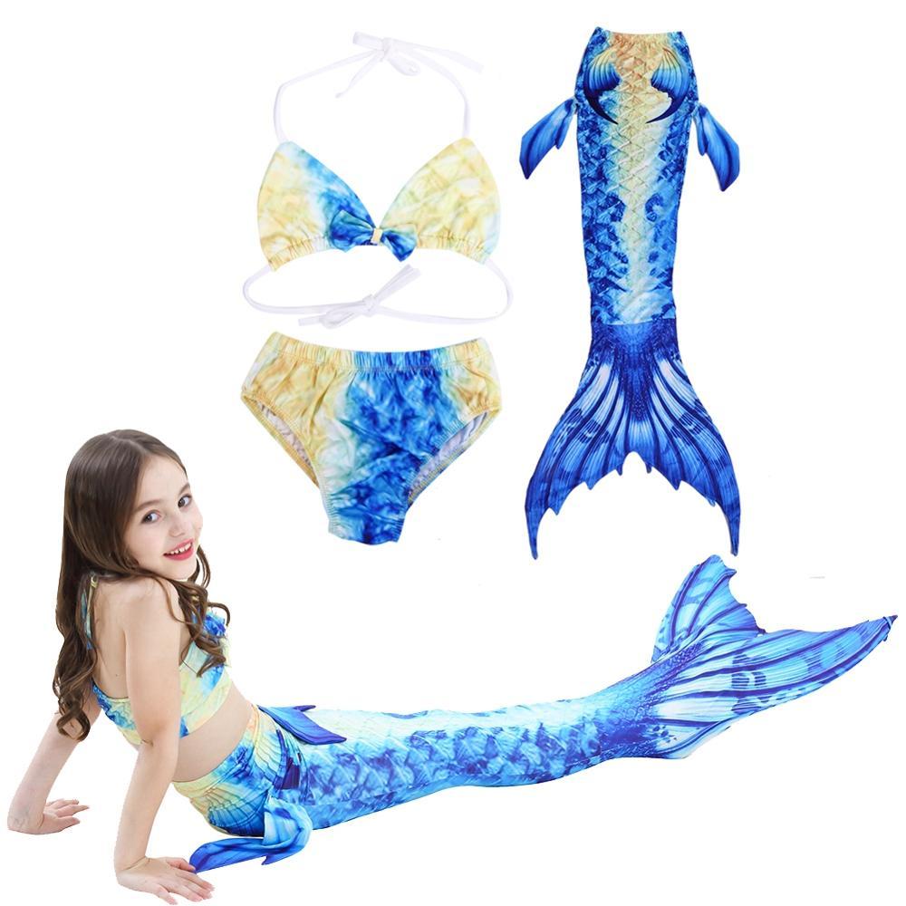 Kids Girl Swimmable Mermaid Tail Sea-maid Swimwear Clothes Beachwear