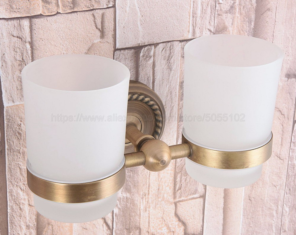 Toothbrush Holder Wall Mounted Antique Brass Double Toothpaste Ceramic Cup