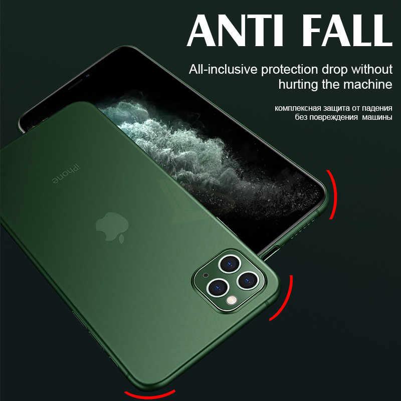 Luxo 0.26mm ultra fino pp caso para iphone 11 pro max x xr xs matte capa de telefone para iphone 7 8 6s mais completa à prova de choque casos