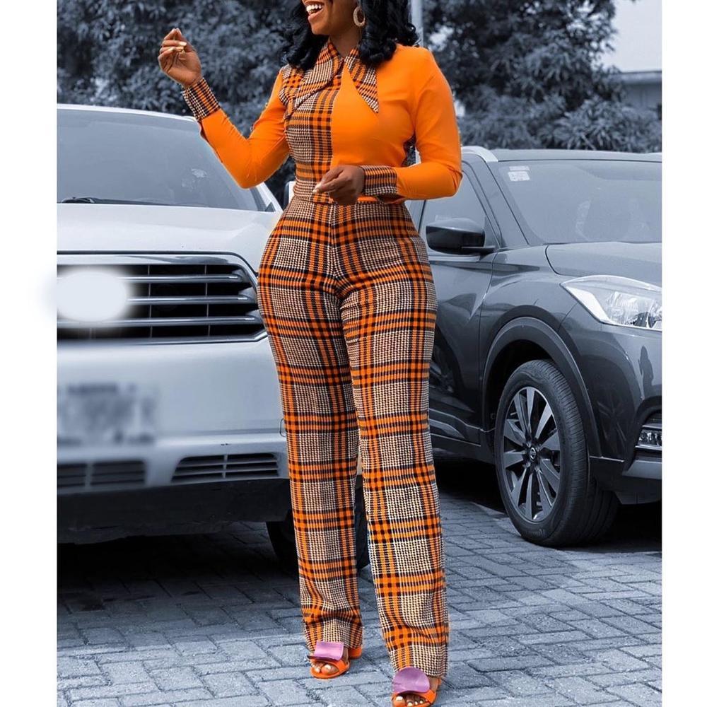 African Vinatge Orange Plaid Color Block Long Jumpsuits For Women Vogue Style Brand Design Elegant Work Office Jumpsuits Ladies