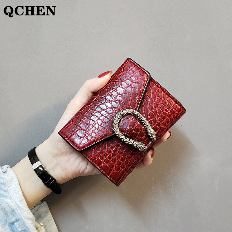 Women's Wallet Short Crocodile Snake Pattern Small Purses Coin Card Holder Female High Quality Clutch Bag PU Leather Wallets 674