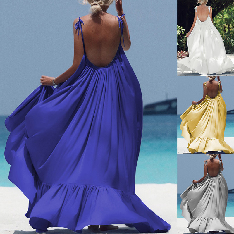 Plus Size 3xl Backless Loose Bikini Cover Up Pure Beach Dress Pareo Beach Dress Kaftan Chiffon Playa Tunics Robe De Plage Femme