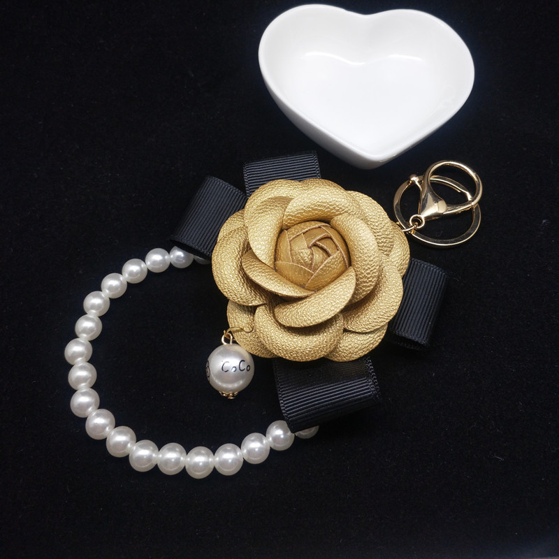 Female Pearl Tassel Keychain Holder Keyring Car Chain Rings Women Genuine Leather  Bag Camellia Flower Jewelry Gifts
