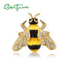 SANTUZZA серебряная брошь для женщин, подлинные 925 пробы, серебро, шикарный золотой цвет, желтая пчела, модные трендовые ювелирные изделия ручной работы, эмаль