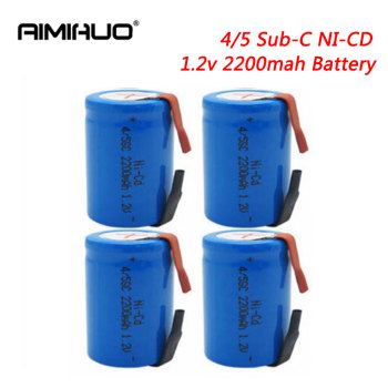 4pcs Ni-Cd 4/5 SC Sub C 1.2V 2200mAh Rechargeable Batteries for Flashlight Fan Power Tool Battery NICD SC Cells With Welding Tab image
