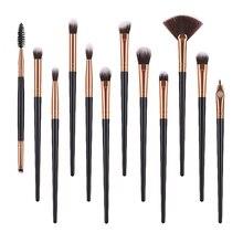 цена на 12PCS Makeup Brushes Eyeshadow Blending Eyebrow Fan Shader Concealer Eyeliner Eye Crease Brush Synthetic Hair Makeup Brush Set