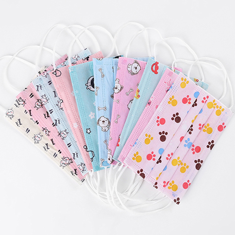 200pcs/Pack New One-time Cute Cartoon Prints Non-woven Children's Flat Masks Breathable Children's Dust Haze Masks