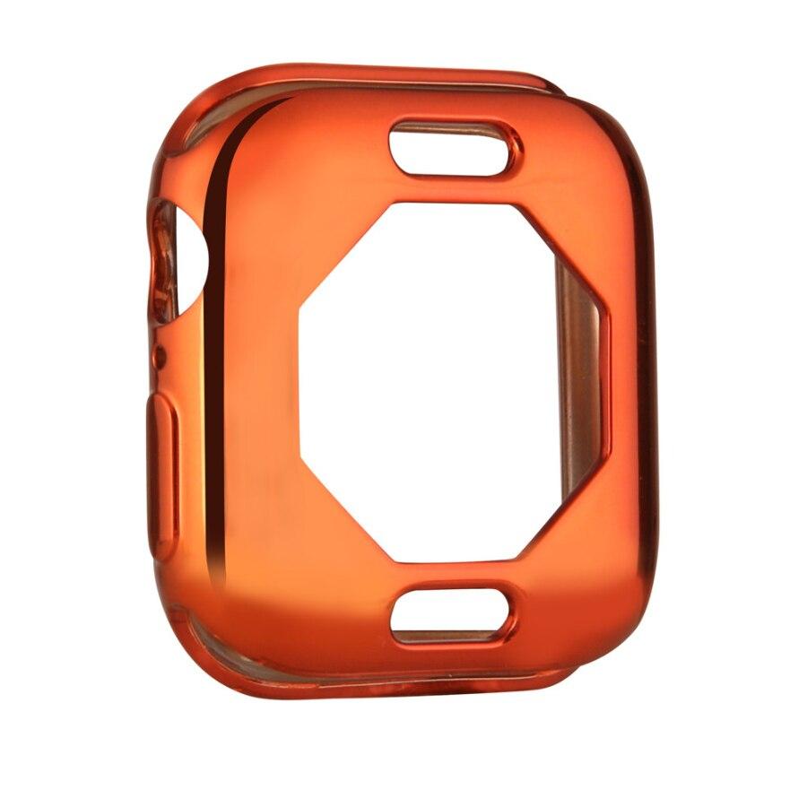Чехол s для Apple Watch, 44 мм, 40 мм, серия 5, чехол с покрытием, TPU, мягкая защитная оболочка, защитная рамка для iWatch, 4 полосы, бампер - Цвет: Оранжевый