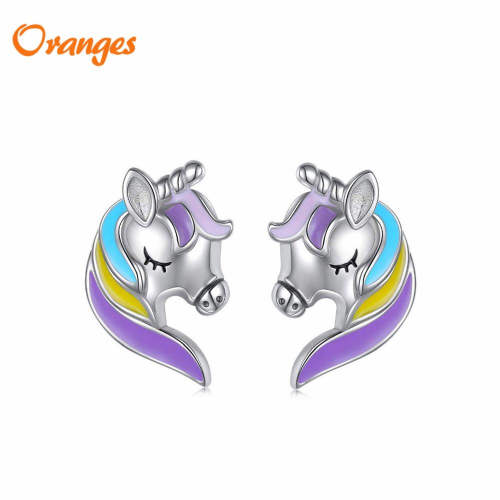 NEW Fashion Colorful Glitter Unicorn Stud Earrings Kids Children Jewelry Silver Animal Cute Small Earrings Women Gift Christmas