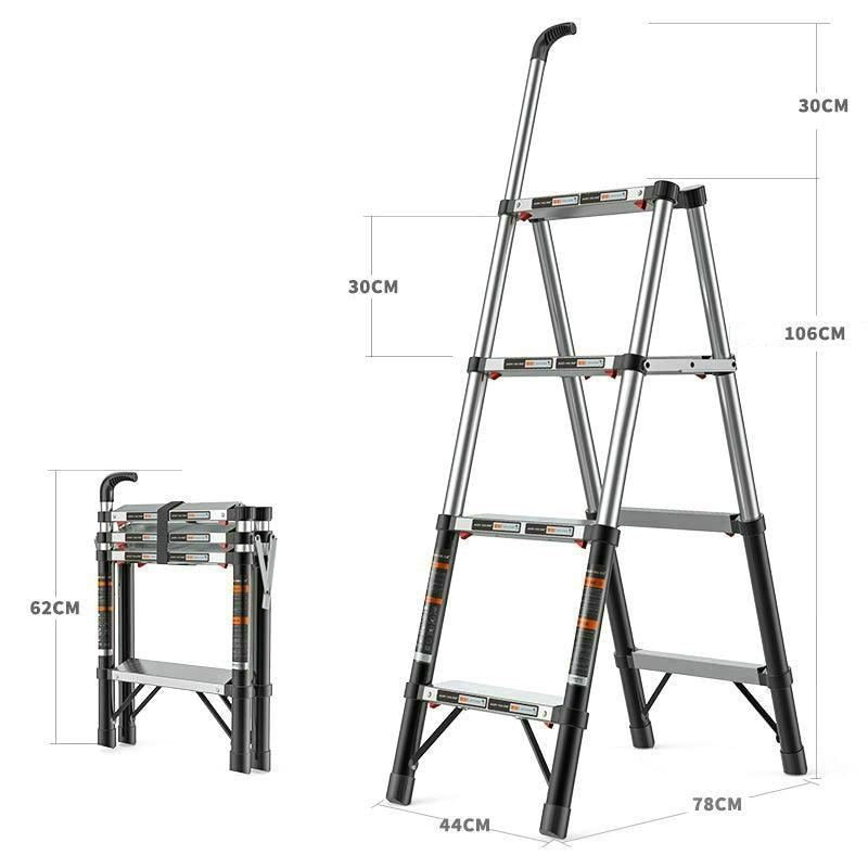 1.36M Aluminum Alloy Multifunctional Telescopic Ladder Home Folding Herringbone Ladder Reinforced Anti-sway Engineering Ladder