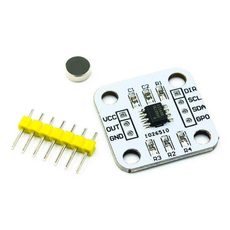 Магнитный датчик AS5600, индукционный модуль датчика угла, 12 бит, высокая точность