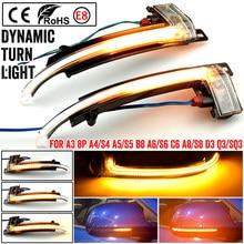 Scroll LED Dynamic Turn Signal Light Side Mirror Flashing Light Repeater Blinker for Audi A3 8P A4 A5 B8 Q3 A6 S6 SQ3 A8 D3 8K
