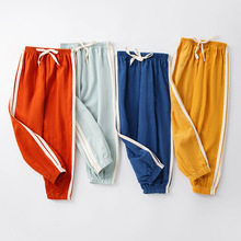 Kids Trousers Long-Pants Linen Cotton-Side Baby-Boys-Girls Children Casual Breathable