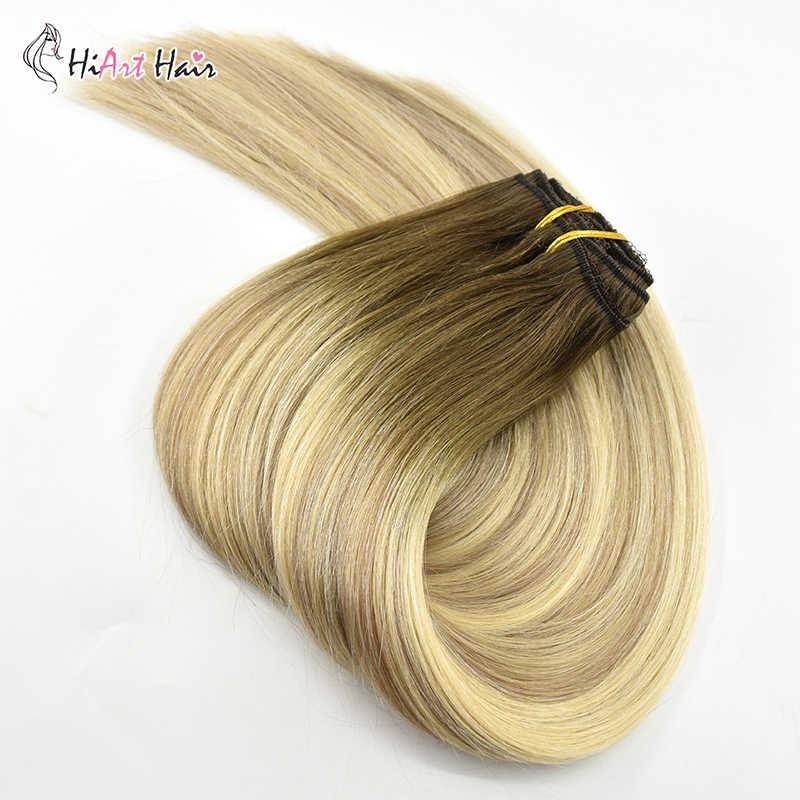 HiArt 180g קליפ ברחבות אמיתי שיער טבעי הארכת Cheveux קליפ Naturel 7pc מלא ראש קליפים שיער Balayage ישר מפעל