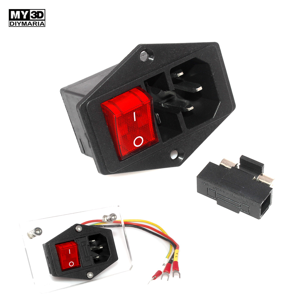 3D Printer Parts 220V/110V 10A Power Supply Switch Male Socket with Fuse for 3D Printer DIY 3D Printer Accessories 2020 NEW