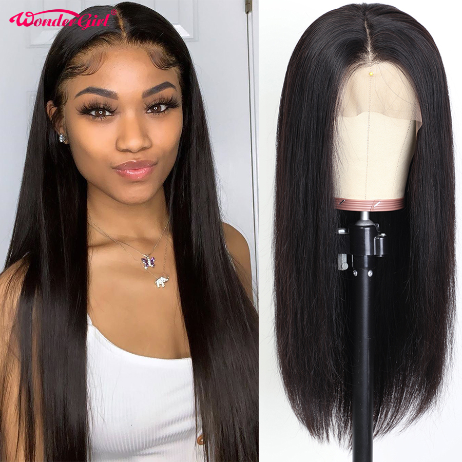 Wonder Girl 250 Density Lace Wig 360 Lace Frontal Wig Pre Plucked With Baby Hair Brazilian Straight Lace Front Human Hair Wigs
