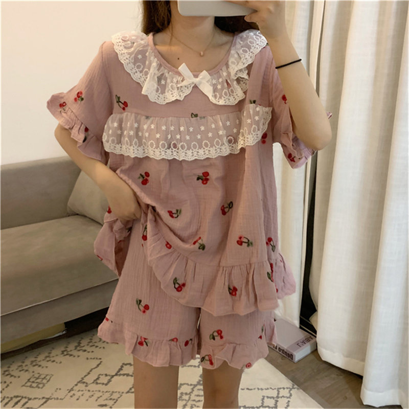 Alien Kitty Female Princess 2020 Short-sleeved Pajamas Chic Strawberries Shorts Tracksuit Women Sleepwear Loose Pajamas Sets
